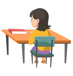 schoolgirl sitting table with book textbook vector image