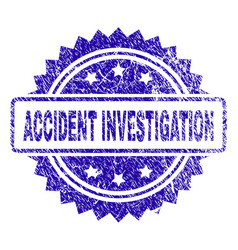 Scratched accident investigation stamp seal vector