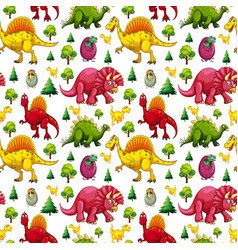 Seamless pattern with various cute dinosaurs vector