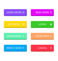 Set modern style buttons in flat style vector