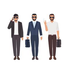 Set of bearded caucasian men dressed in business vector