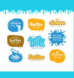Set of label for milk butter and cheese vector