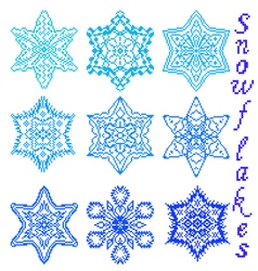 Set of snowflakes with embroidery vector image