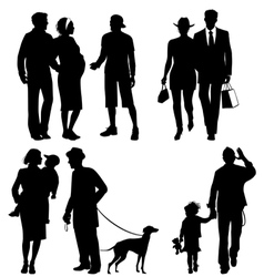 Several people city live silhouettes vector