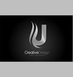 Silver metal u letter design brush paint stroke vector