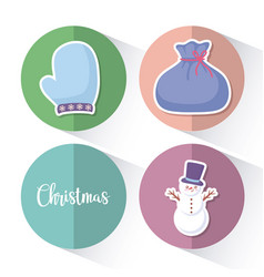 snowman with bag gift and glove of christmas vector image