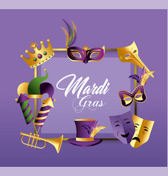 square emblem with masks and hat to merdi gras vector image