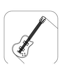 Square shape with silhouette electric guitar vector
