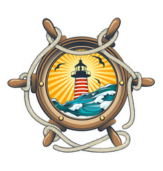steering ship wheel with lighthouse inside vector image