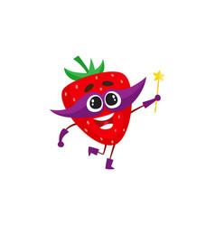 Strawberry superhero character with magic wand vector