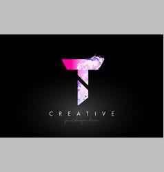 T letter artistic purple paint flow icon logo vector