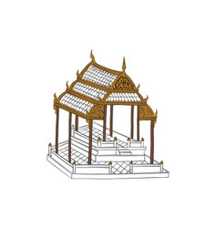 Temple drawing thai traditional drawing vector
