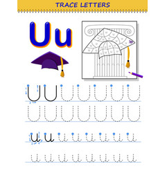 Tracing letter u for study alphabet printable vector