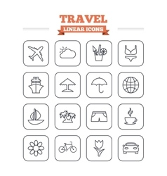 Travel linear icons set Thin outline signs vector image
