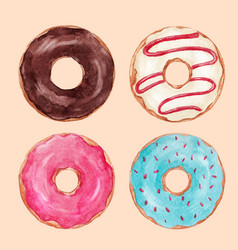 Watercolor tasty donuts set vector