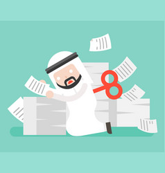 Wind up arab businessman end energy and stop vector