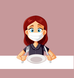 Woman wearing face mask at restaurant vector