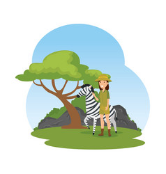 Woman worker of zoo with zebra in the camp vector