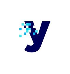 Y letter lowercase pixel mark digital 8 bit logo vector