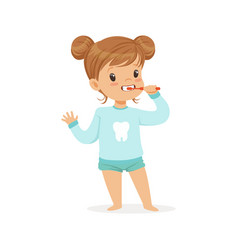 adorable cartoon girl brushing her teeth kids vector image