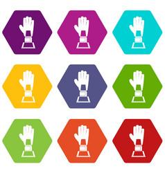 baseball glove award icon set color hexahedron vector image