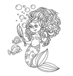 beautiful mermaid girl pretties herself in front vector image