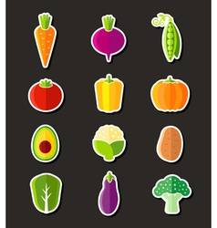 Fresh healthy vegetables flat style icons vector image