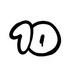 graffiti number 10 sprayed in black over white vector image vector image