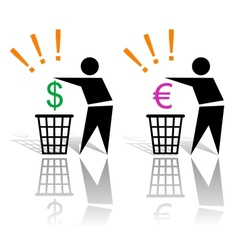 Recycling signs and money vector image vector image