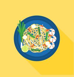 thai food pad thai stir-fried rice noodle vector image vector image