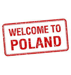 welcome to Poland red grunge square stamp vector image vector image