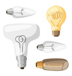 cartoon lamps light bulb electricity design flat vector image vector image