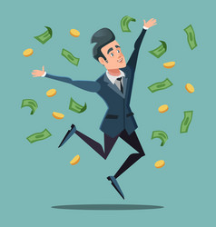 happy businessman jumping under money rain vector image vector image