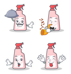 Set of cleaner character with chef trumpet tongue vector