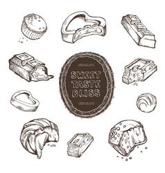 set of hand-drawn sketches bitten vector image