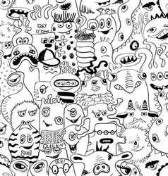 Sketch Seamless Pattern With Funny Monsters vector image vector image