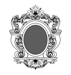 baroque mirror frame round decor design vector image