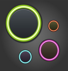 Colorful glowing buttons on dark background vector image