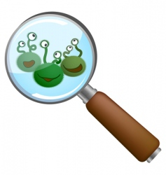 microbes under loupe vector image vector image