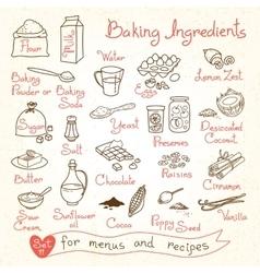 Set drawings of baking ingredients for design vector