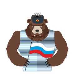 Angry Russian bear holding Russian flag Beast vector image