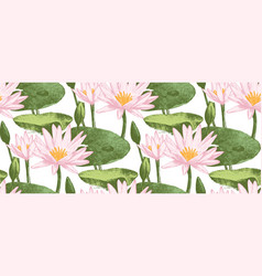 seamless pattern with water lily flowers vector image vector image