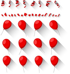 Set of flat celebration balloons vector image
