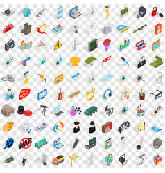100 job icons set isometric 3d style vector image