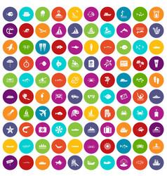 100 ocean icons set color vector