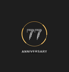 77 anniversary logotype with silver number vector