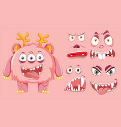 A cute monster facial express vector