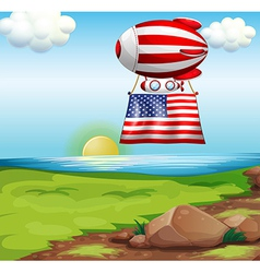 A floating balloon with the flag of the United vector
