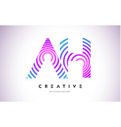 ah lines warp logo design letter icon made with vector image