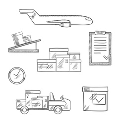 Air cargo and logistics business sketched icons vector